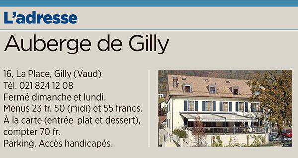 Tribune de Genève Auberge de Gilly